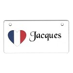 France Heart Flag Crate Tag Personalized With Your Dog's Name